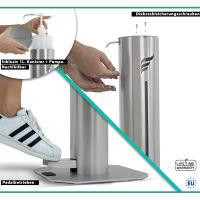 astreea® Model S Desinfektionssäule aus Edelstahl mit Pedal und 1,0L Kanister