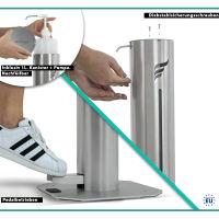 astreea® Model M Desinfektionssäule aus Edelstahl mit Pedal und 1,0L Kanister