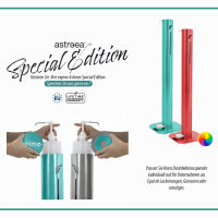 astreea® Model L Desinfektionssäule aus Edelstahl mit Pedal und 2,0L Kanister