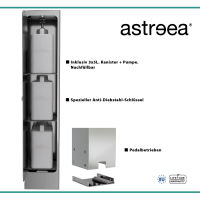 astreea® Model XXL Desinfektionssäule aus Edelstahl mit Pedal und 3x5L Kanister