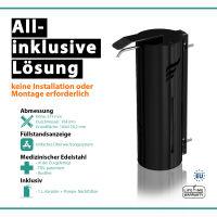 astreea® Wall Desinfektionsspender Schwarz aus Edelstahl mit 1,0L Kanister